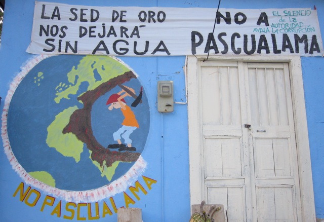 "Mural at the Church in Alto del Carmen: ""Our thirst for gold will leave us without water.\"" (Photo by Fabiana Li)"