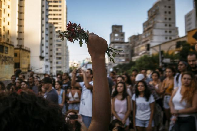 An action for justice for Marielle Franco earlier this year in São Paulo (Eduardo Figueiredo/Mídia Ninja).