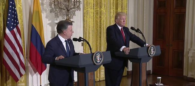 A press conference between Presidents Santos and Trump at the White House on May 18, 2017 (White House/ Youtube)