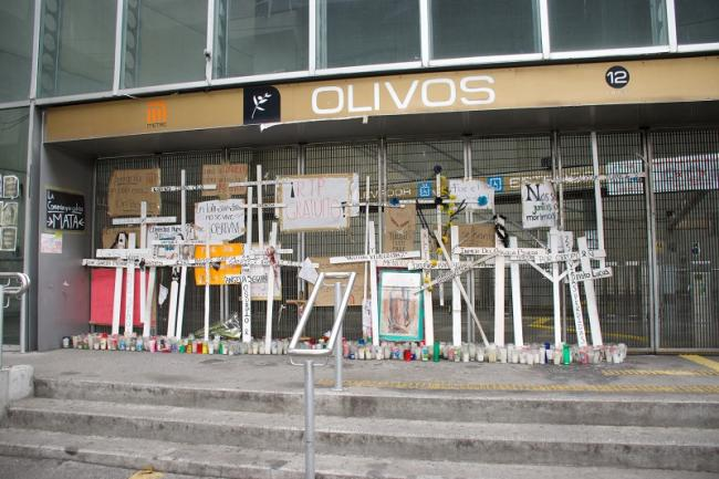 A shrine outside the Olivos Metro station in Mexico City to honor the victims of the collapse. (Sam Law)