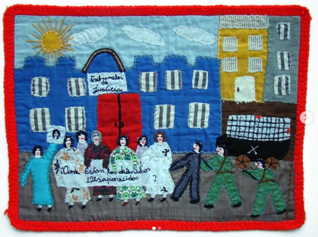 """An embroidery, known as an arpillera, made in Chile with the slogan """"Where are the detained and disappeared?"""" Marijke Oudgeest. (Museo de la Memoria)"""