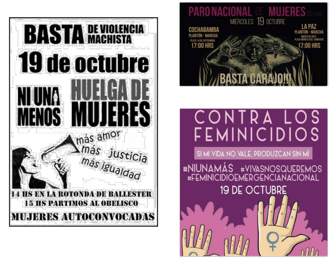 NiUnaMenos posters from around the region (Facebook)