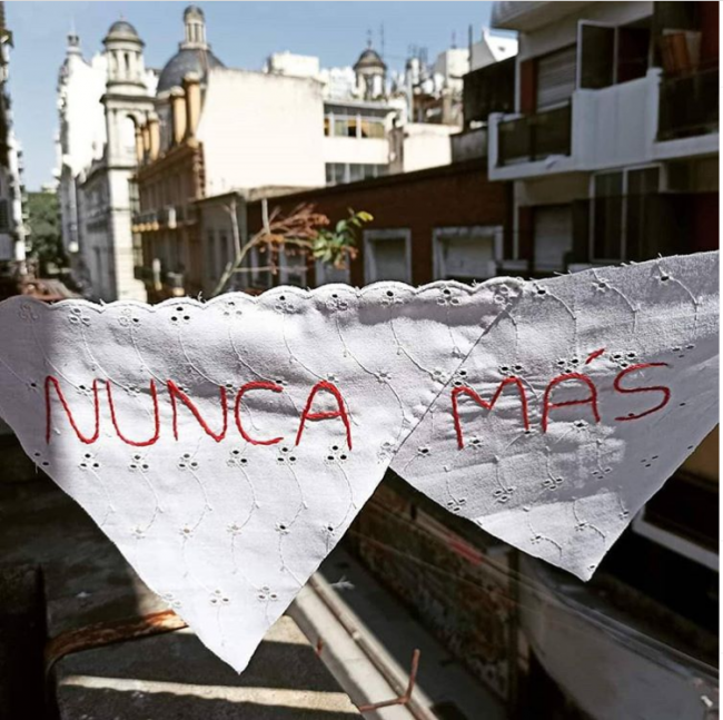 """An embroidery shared under the #PañuelosConMemoria hashtag in Argentina, with the call for """"Never Again"""" (Courtesy of Movimiento No Matarás)"""
