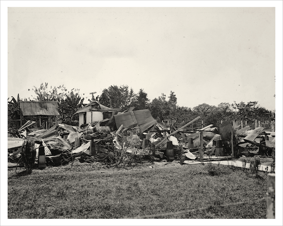 """Ruins of engineers' quarters and mess after revolution, Sevilla, Colombia, Dec. 10, 1928."" Courtesy of the United Fruit Company Photograph Collection, Baker Library, Harvard Business School (olvwork719212)."