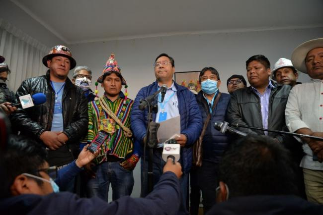 Orlando Gutiérrez, far left, with newly-elected President Luis Arce, before his death in Bolivia last month (Sara Aliaga).