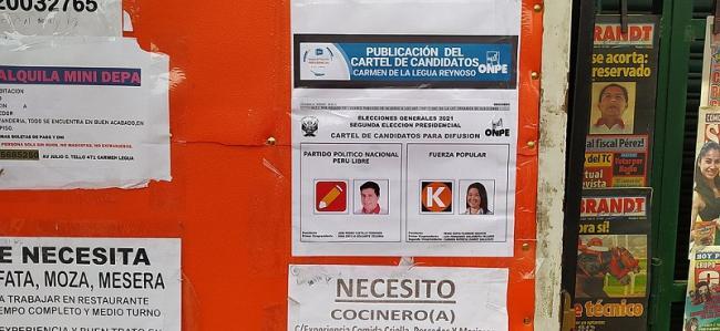 Elections materials in Carmen de la Legua Reynoso en el Callao ahead of the secound round. (Txolo)