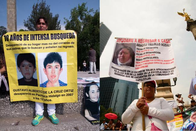 Gregoria Ortiz Garnica is searching for her son Gustavo, who disappeared in 2007 at the age of 12 in Pachuca. RIGHT: Virginia Aceves Gonzalez is looking for her daughter, Araceli Trujillo, who disappeared in 2015 in Toluca (Photos by Federico Barahona)