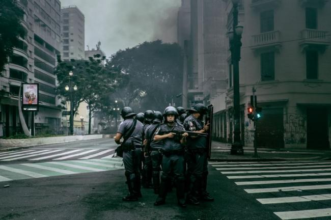 Police during a general strike in São Paulo, Brazil on April 28, 2017. (Mídia NINJA / Flickr)