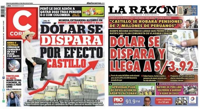 Peruvian newspapers spread fear about Castillo during the campaign.
