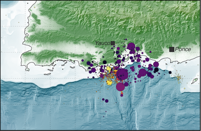A map of seismic activity southwest of Puerto Rico in December 2019 and January 2020. Earthquake symbols are sized by magnitude. (Image by USGS/Public domain)