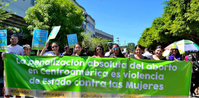 Sara Garcia and members of the Citizen Group protest against unjust abortion laws in Central America (Photo by Agrupación Ciudadana por la Despenalización del Aborto)