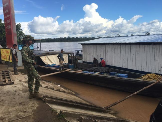 The Colombian Army and Navy both have troops stationed in Puerto Leguizamo, because of the counterinsurgency war and to protect the international border with Peru, the Putumayo River. (Photo by Winifred Tate)