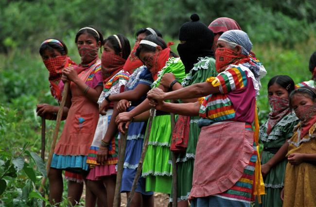 In 1998, Zapatista women in Amador Hernadez demanded daily that the Mexican military leave the village communal landholdings. (Photo by Tim Russo)