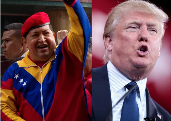 Donald Trump in 2015 (Gage Skidmore/ Flickr) and Hugo Chávez in 2012 (Wikimedia Commons)