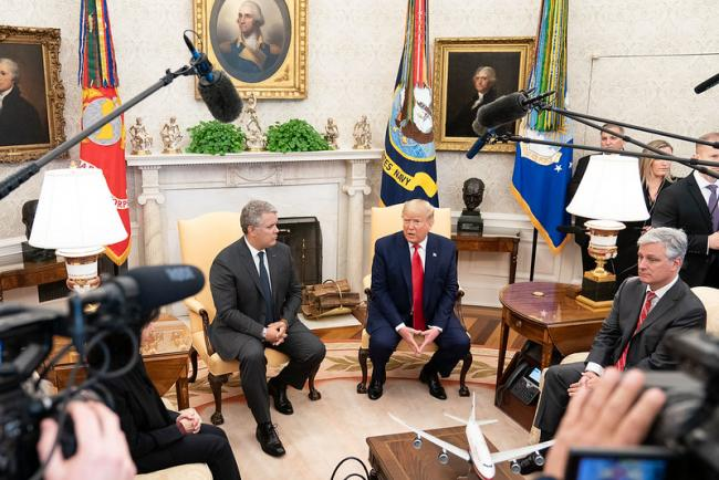 U.S. President Donald Trump meets with Colombian President Iván Duque on Monday, March 2, 2020 at the White House. (White House Photo by Joyce N. Boghosian)
