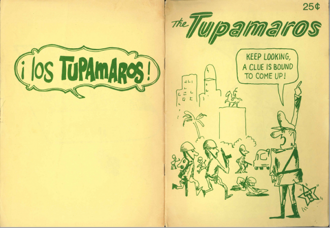 The cover of a NACLA translation of a comic written by the Mexican cartoonist Rius about the Tupamaros National Liberation Movement (NACLA archives).