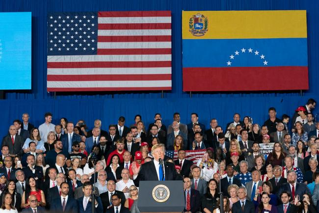 President Donald Trump speaks to Venezuelan Americans at a rally in Miami, Florida in February 2019. (White House / Flickr)