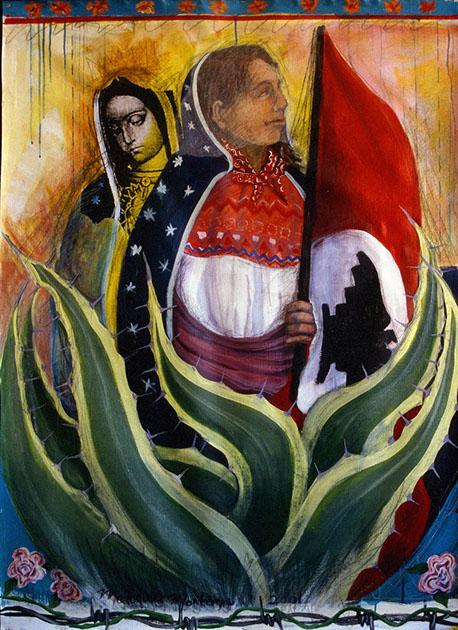"""Virgen Campesina"" painted by Malaquías Montoya in 2001."