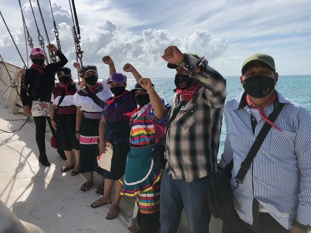 The send-off of the Zapatista delegation sailing to Europe (Enlace Zapatista)