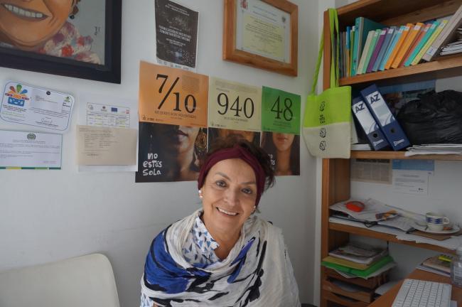 """Doña Fátima Muriel, la fundadora de la Alianza, ha trabajado en Putumayo por décadas. Ella dice: """"Nuestra objetivo es enseñar a las mujeres cómo ser lideres comunitarios y buenas madres, y salir de las zonas privadas y entrar los espacios públicos"""". (foto de"""