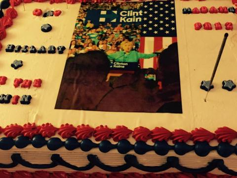 A celebratory Hillary Clinton cake sits, uncut, at an election night party attended by Nicky Fernández and Jennifer Román (Photo by Bianca Premo)